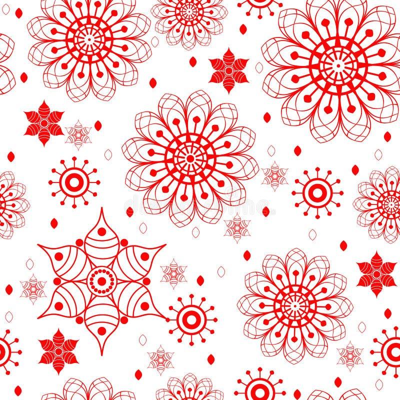 Mod?le monochrome sans couture avec les fleurs rouges de griffonnage illustration libre de droits