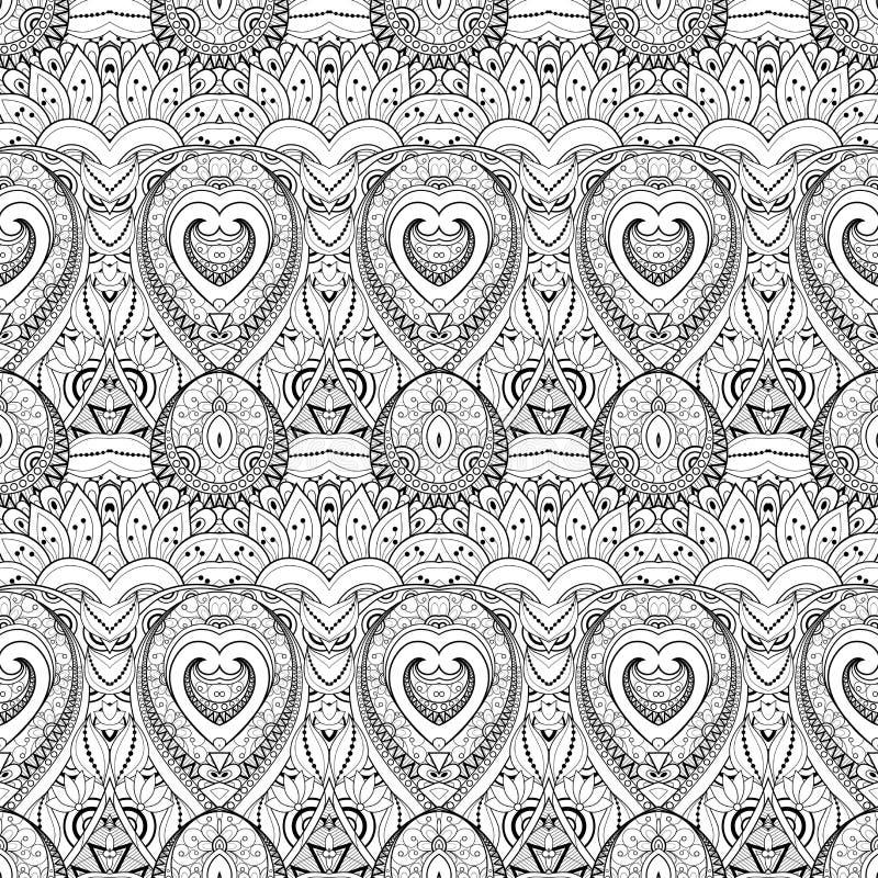 Download Modèle Monochrome Sans Couture De Damassé De Vecteur Illustration de Vecteur - Illustration du batik, mexicain: 56480023