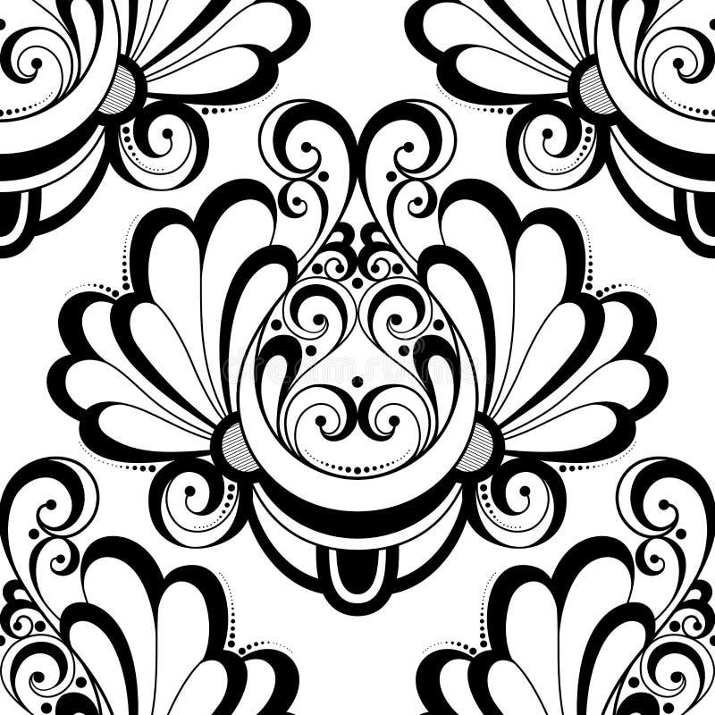 Download Modèle Monochrome Sans Couture De Damassé De Vecteur Illustration de Vecteur - Illustration du fond, lacet: 56480146