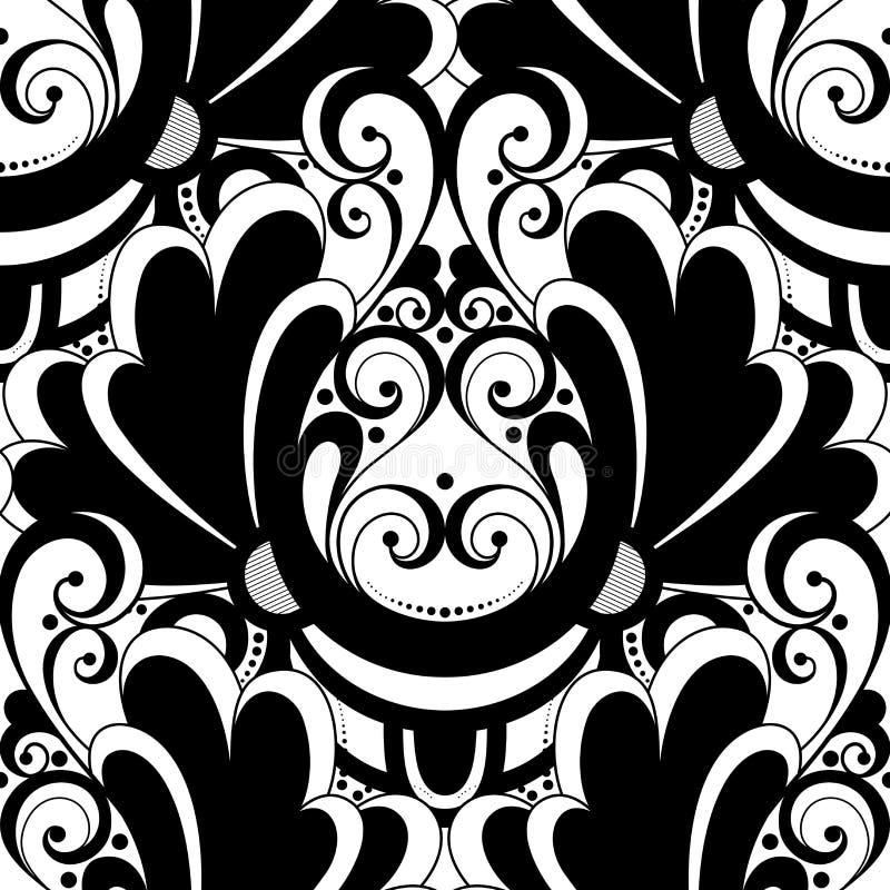 Download Modèle Monochrome Sans Couture De Damassé De Vecteur Illustration de Vecteur - Illustration du classique, noir: 56481079