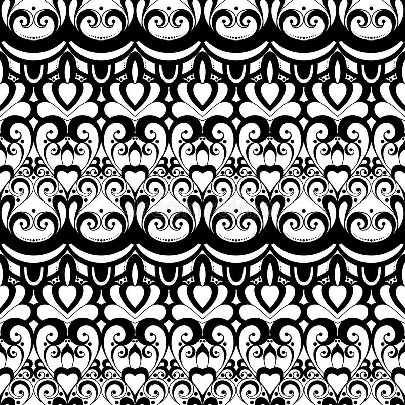 Download Modèle Monochrome Sans Couture De Damassé De Vecteur Illustration de Vecteur - Illustration du main, conception: 56482554