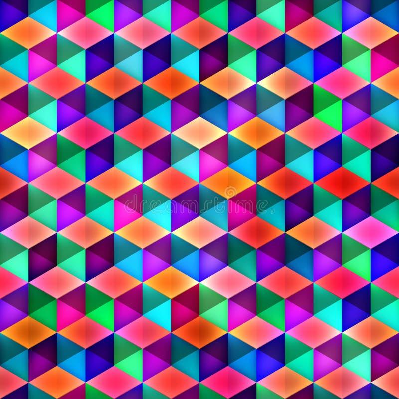 Modèle multicolore sans couture de cubes en trame illustration de vecteur