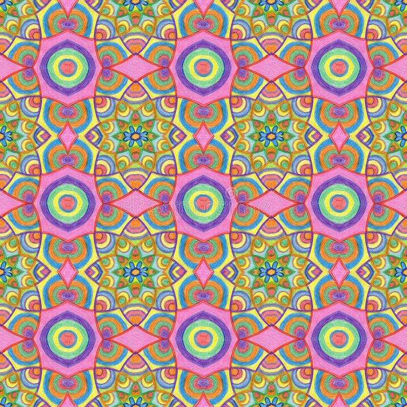 Modèle multicolore tiré par la main d'été dans des couleurs froides image stock