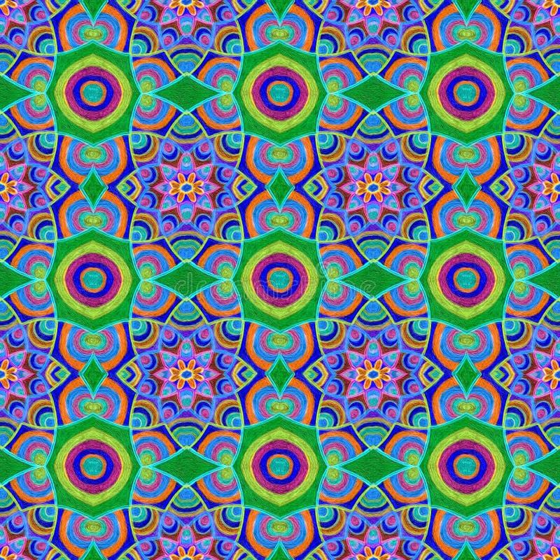 Modèle multicolore tiré par la main d'été dans des couleurs vertes bleues image libre de droits