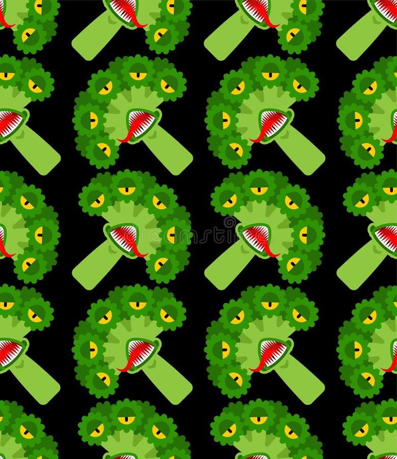 Modèle mutant OGM monstre Broccoli transparent Légumes affamés avec fond dentaire Alimentation étrangère affamée texture vectorie illustration stock