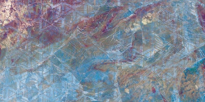 Modèle naturel, couleurs DE CORAIL avec la poudre d'or, peintures mélangées La marbrure de papier est une méthode de concepti image stock