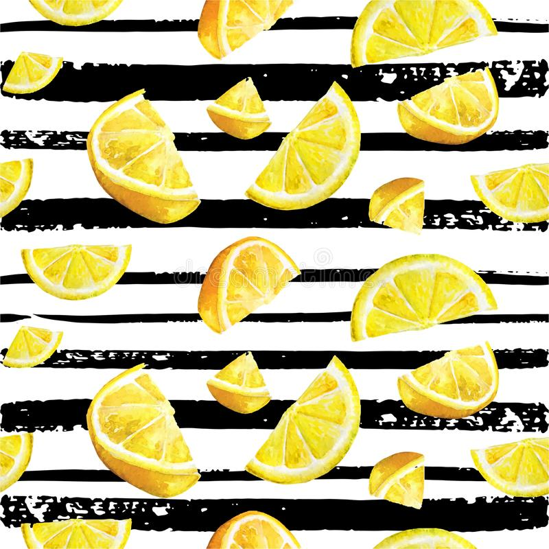 Modèle naturel d'aquarelle sans couture d'agrume de citron illustration libre de droits
