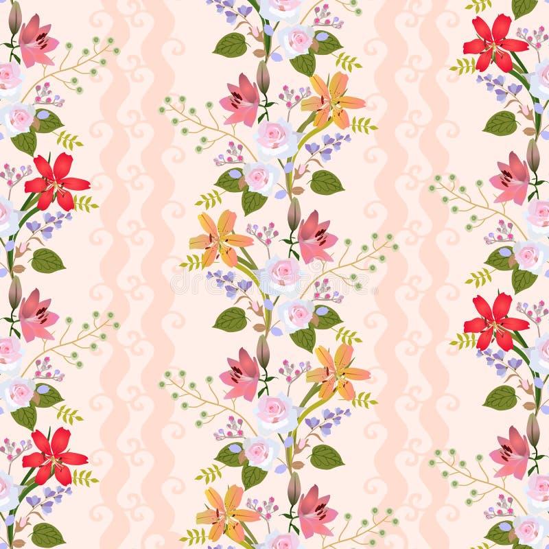 Modèle naturel sans couture avec la guirlande florale romantique des lis, des roses, des fleurs de cloche, des bourgeons du spire illustration libre de droits