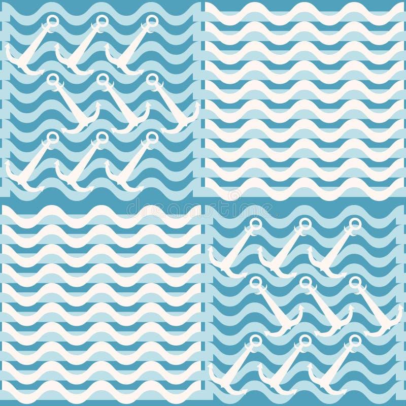 Modèle nautique bleu et blanc sans couture des vagues et des ancres illustration libre de droits