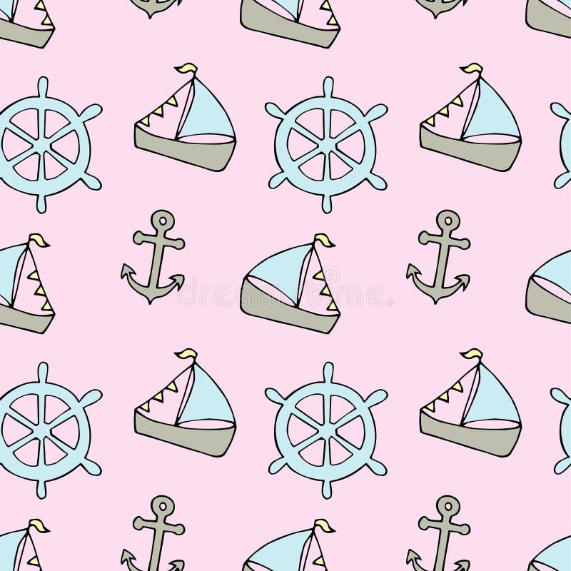 Modèle nautique de vecteur avec des bateaux Illustration lumineuse de bande dessinée pour le design de carte, le tissu et le papi illustration libre de droits