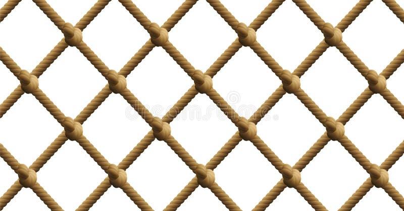Modèle nautique net noué de filet de pêche de corde illustration libre de droits