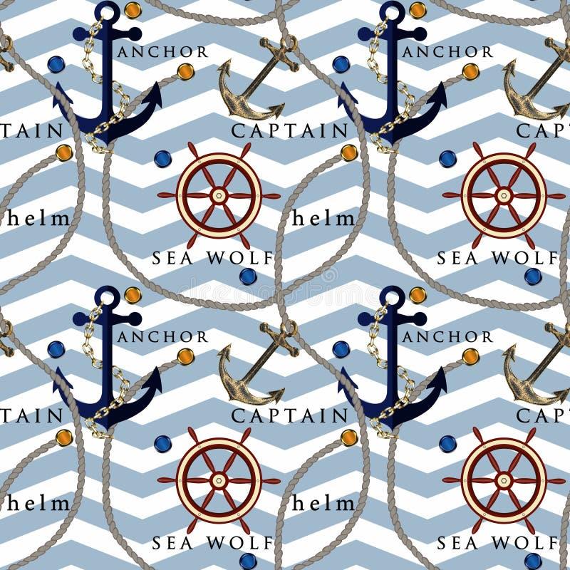 Mod?le nautique sans couture avec l'image d'une ancre, la barre, les cordes sur le fond ray? bleu de Belami illustration de vecteur