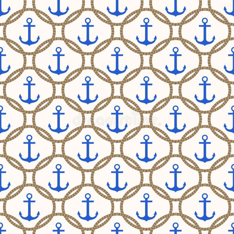 Modèle nautique sans couture avec les ancres et le fond bleus de corde illustration de vecteur
