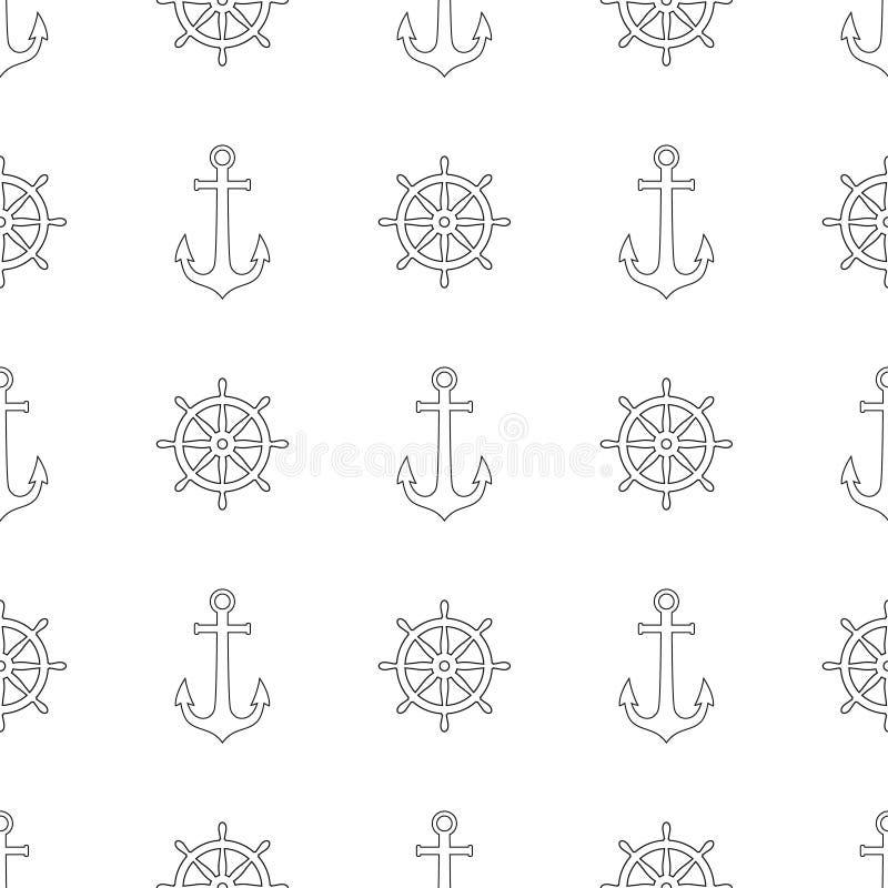 Modèle nautique sans couture avec les ancres et les roues noires de bateau illustration de vecteur