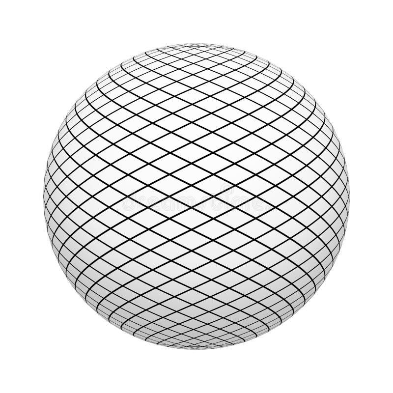 Modèle net de texture avec les places noires sur la forme de boule ou de sphère d'isolement sur le fond blanc Conception haute de illustration de vecteur