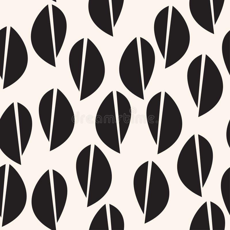 Modèle noir d'astract de feuilles Fond sans couture graphique illustration de vecteur