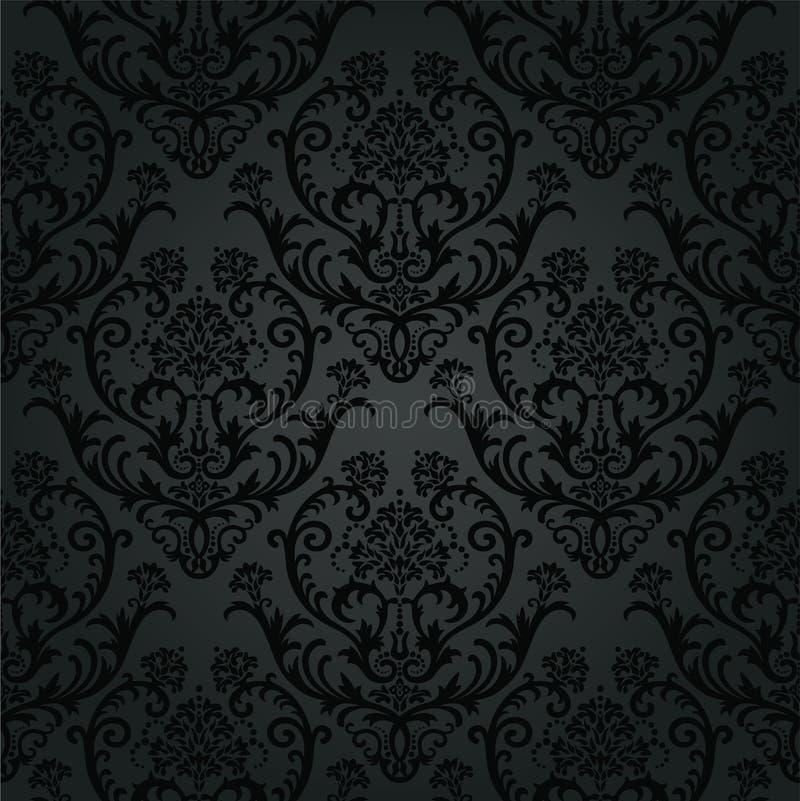 Modèle noir de luxe de papier peint floral de charbon de bois