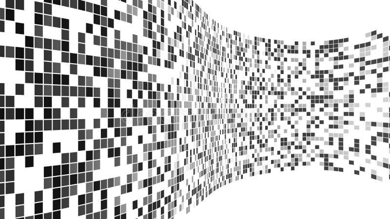 Modèle noir de tuiles de mosaïque Mur virtuel de réalité de cyberespace illustration libre de droits