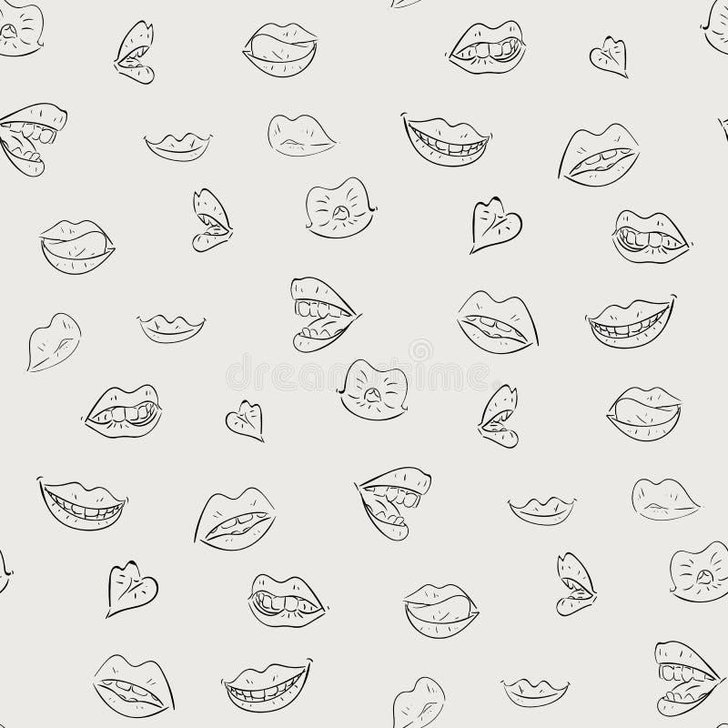 Modèle noir et blanc avec des lèvres illustration stock