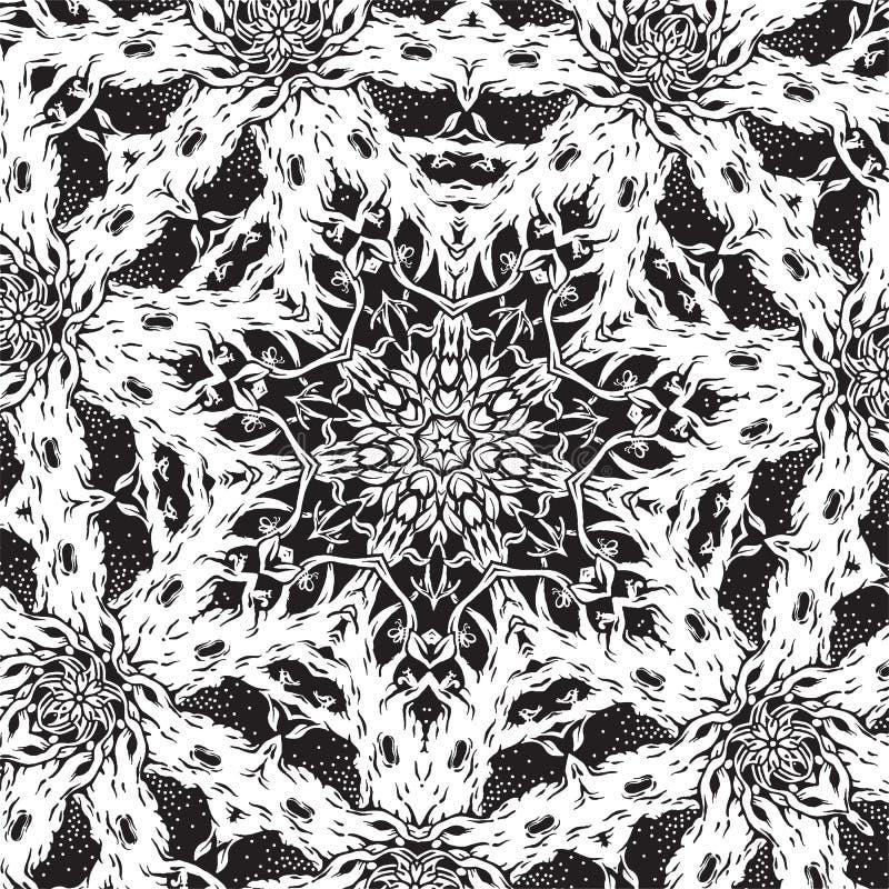 Modèle noir et blanc carré avec des arbres illustration de vecteur