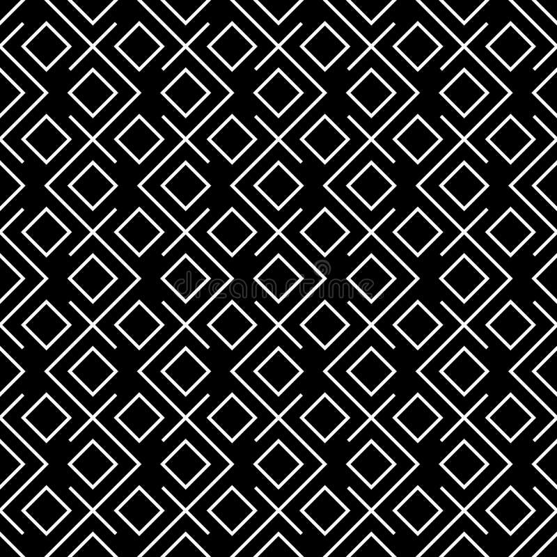 Modèle noir et blanc d'oreiller de mode de hippie de places géométriques illustration de vecteur