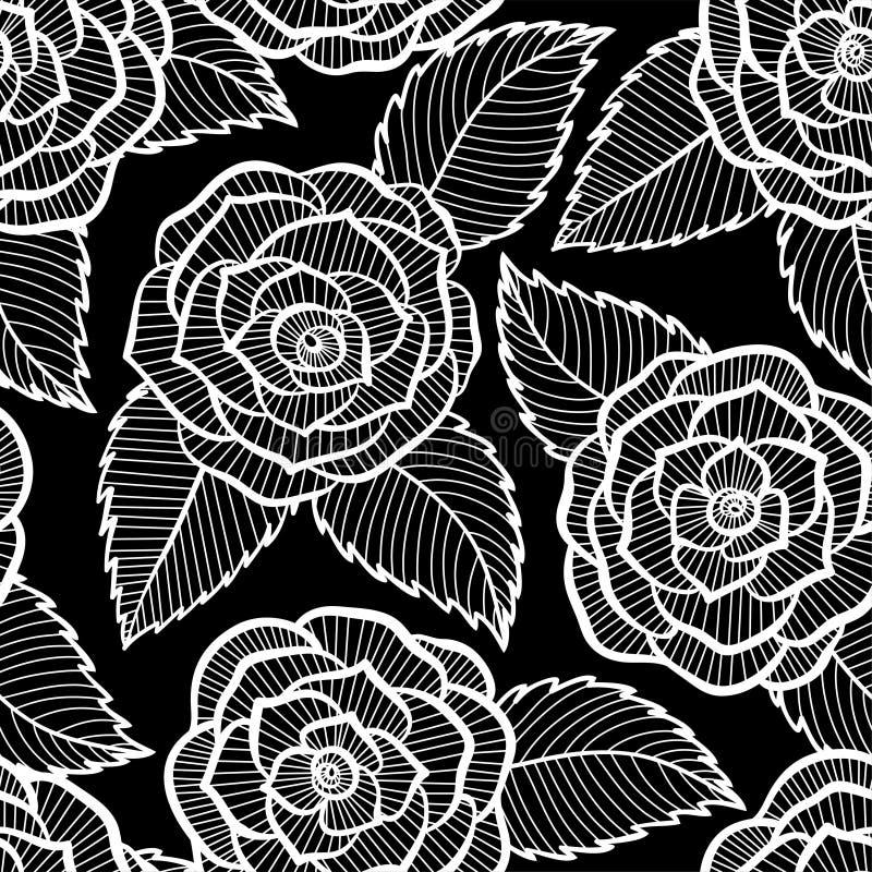 Modèle noir et blanc dans la dentelle de roses et de feuilles illustration libre de droits