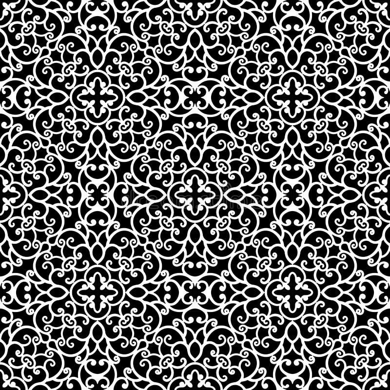 Modèle noir et blanc de dentelle illustration de vecteur
