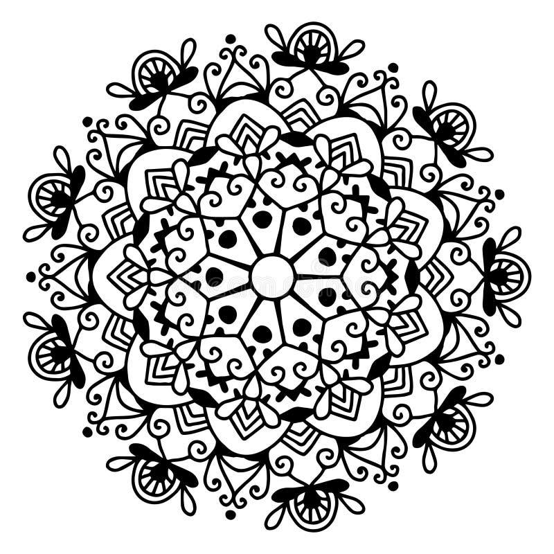 Modèle noir et blanc de dentelle de cercle, flocon de neige de conception de Noël illustration stock