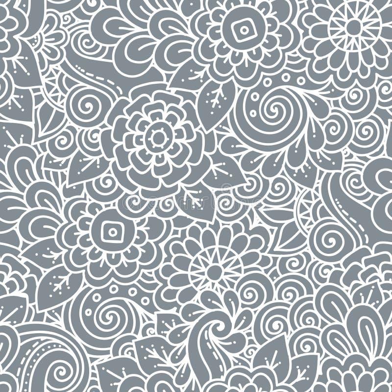 Modèle noir et blanc de rétro griffonnage floral sans couture dans le vecteur illustration de vecteur