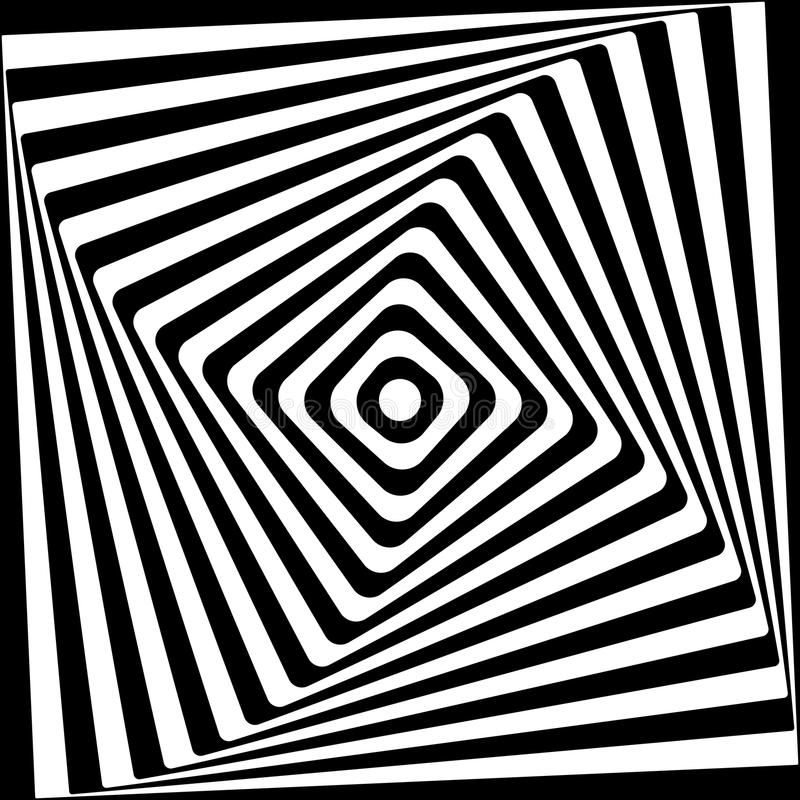 Modèle noir et blanc en spirale carré abstrait illustration libre de droits