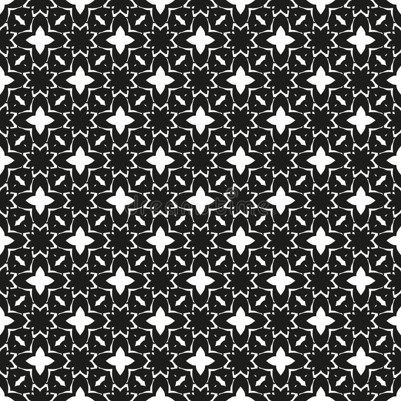 Modèle noir et blanc ethnique floral sans couture ornemental illustration libre de droits