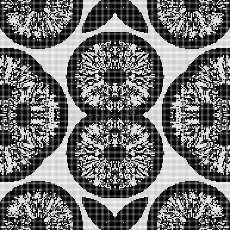 Modèle noir et blanc régulier de rideau aligné dans la place Illustration riche tramée de modèle Fond abstrait de fractale illustration stock