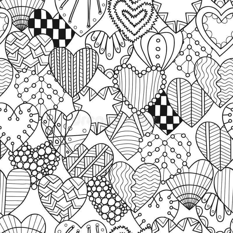 Modèle noir et blanc sans couture avec les coeurs décoratifs pour livre de coloriage illustration de vecteur