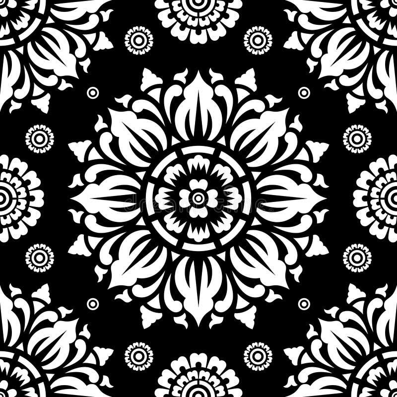 Modèle noir et blanc sans couture circulaire sur le fond noir illustration libre de droits