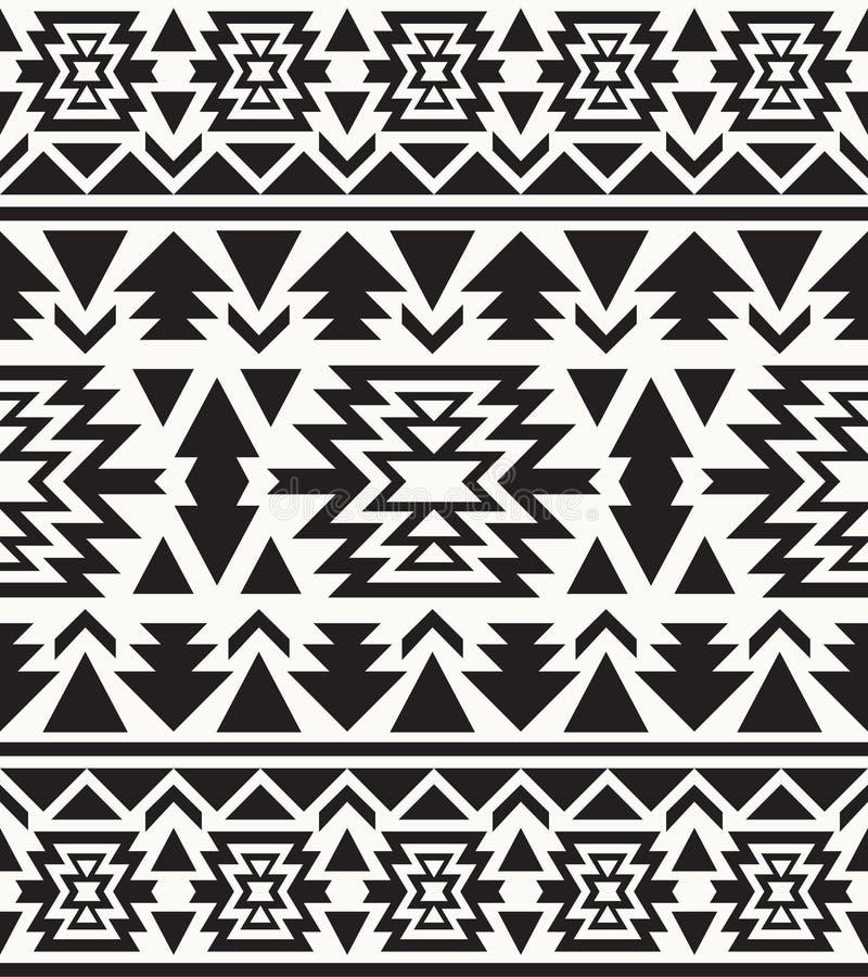 Modèle noir et blanc sans couture de Navajo illustration libre de droits