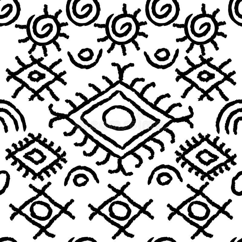 Modèle noir et blanc sans couture de Navajo illustration stock