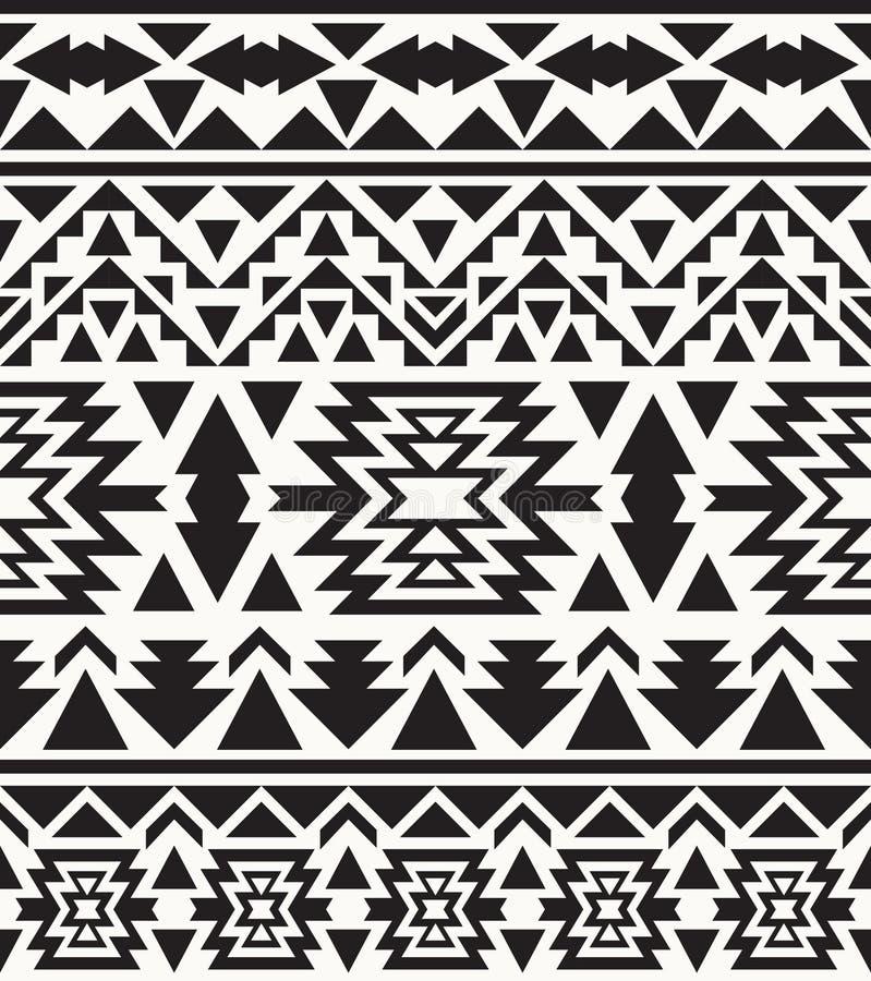 Modèle noir et blanc sans couture de Navajo, illustration de vecteur illustration stock