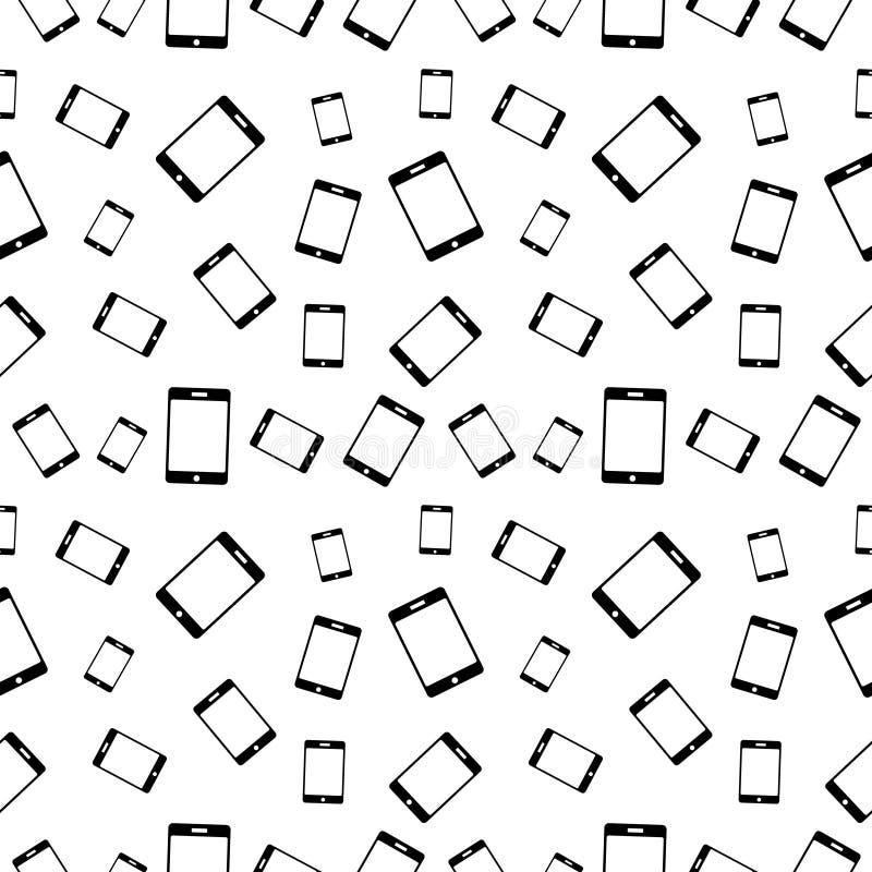 Modèle noir et blanc sans couture de vecteur avec des téléphones portables illustration libre de droits