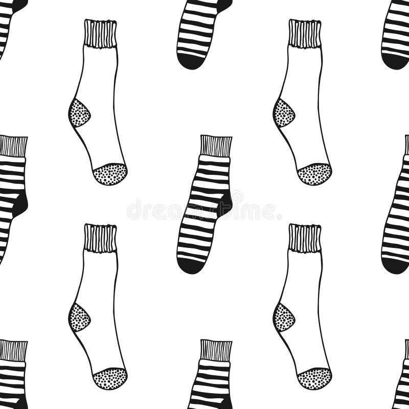Modèle noir et blanc sans couture des chaussettes de doddle pour le livre coloré illustration stock