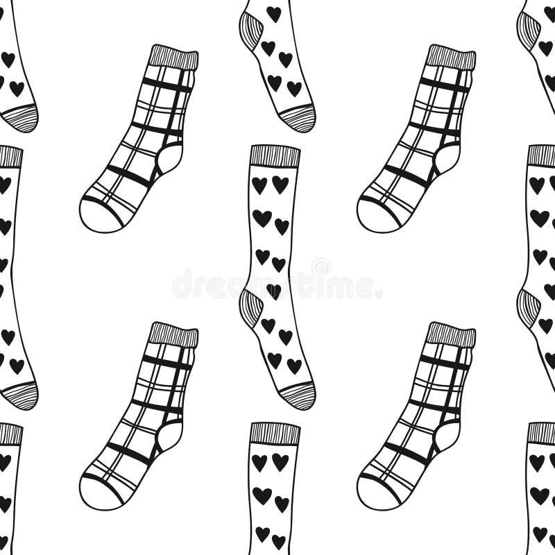 Modèle noir et blanc sans couture des chaussettes de doddle pour le livre coloré illustration libre de droits