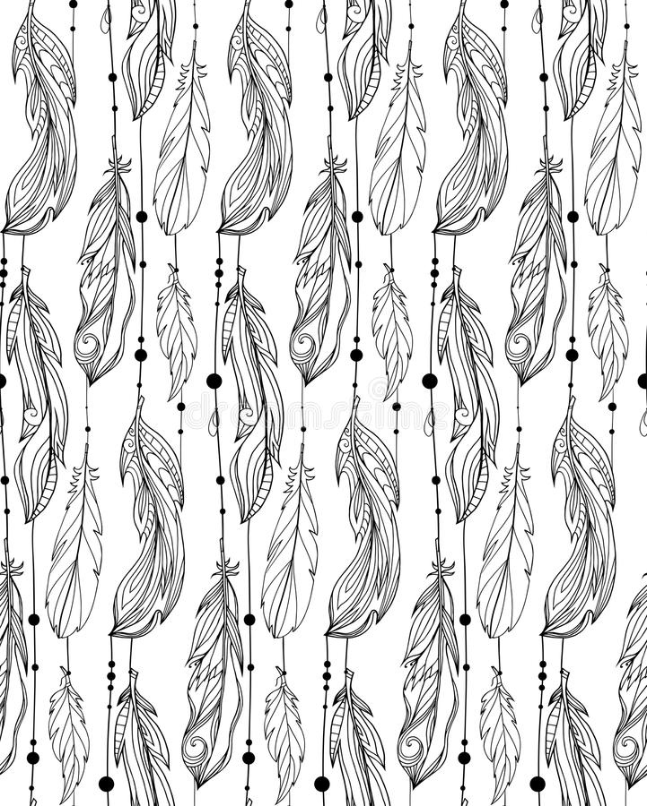 Modèle noir et blanc sans couture des plumes tirées par la main illustration stock