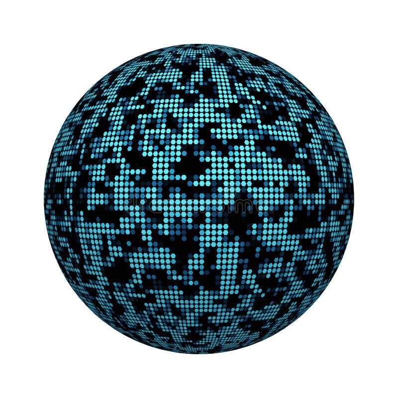 Modèle noir et bleu de texture de tuile de mosaïque d'hexagone sur la forme de boule ou de sphère d'isolement sur le fond blanc C illustration libre de droits