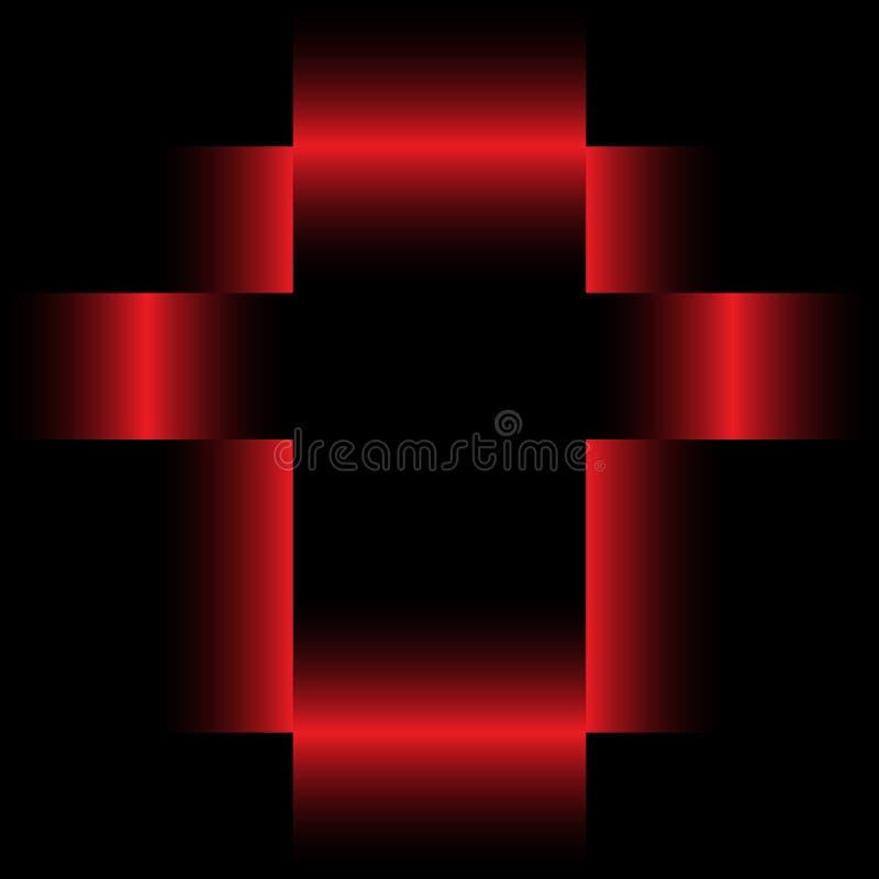 Modèle noir et rouge de tache floue d'en-têtes de contexte de calibre d'abrégé sur cube illustration libre de droits