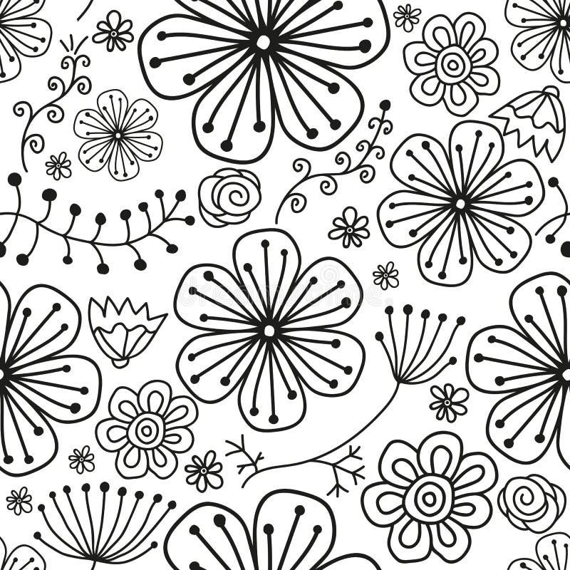 Modèle noir monochromatique sans couture avec des fleurs illustration stock