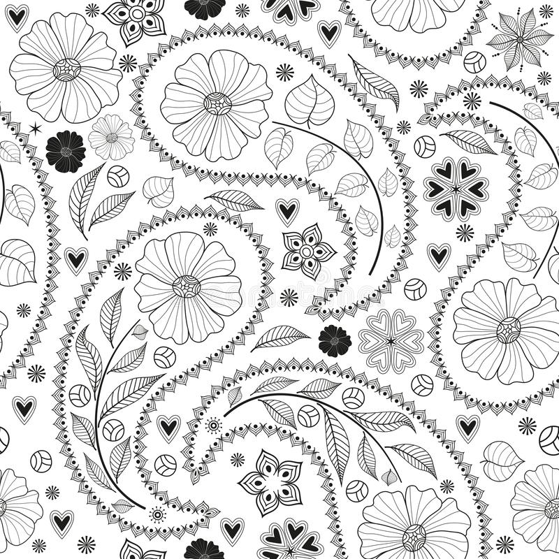 Modèle noir monochromatique sans couture avec Paisley illustration stock