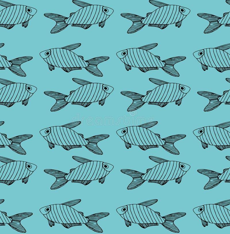 Modèle noir rayé de poissons sur le fond de turquoise illustration de vecteur