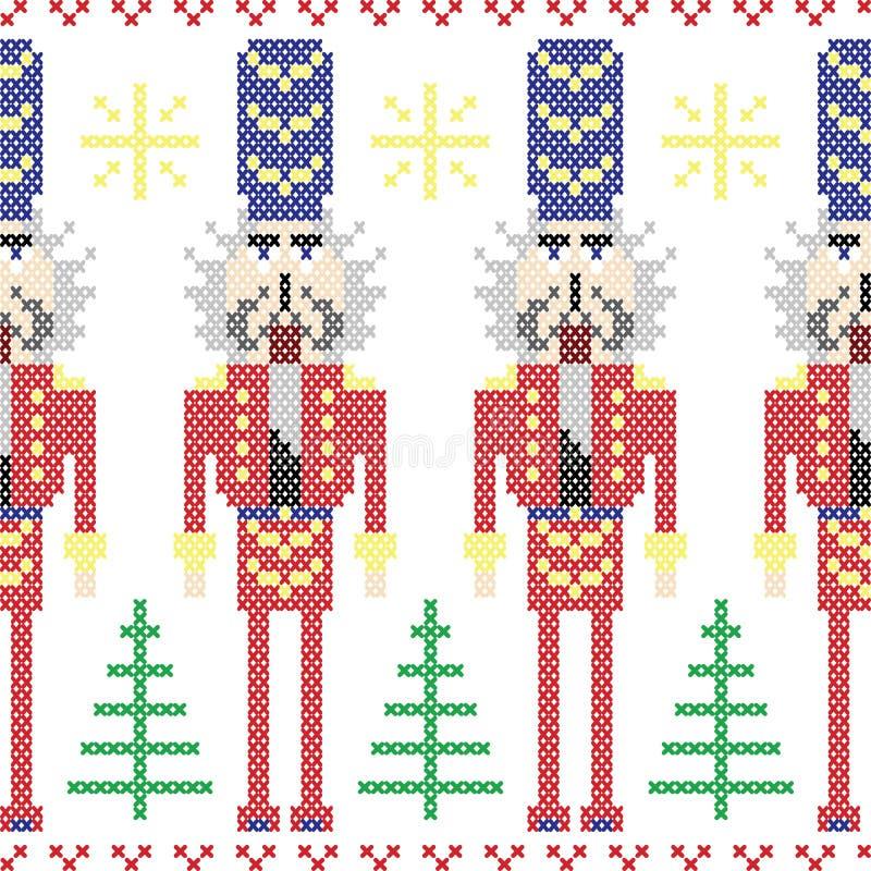 Modèle nordique de Noël sans couture de soldats de casse-noix dans le point croisé illustration de vecteur