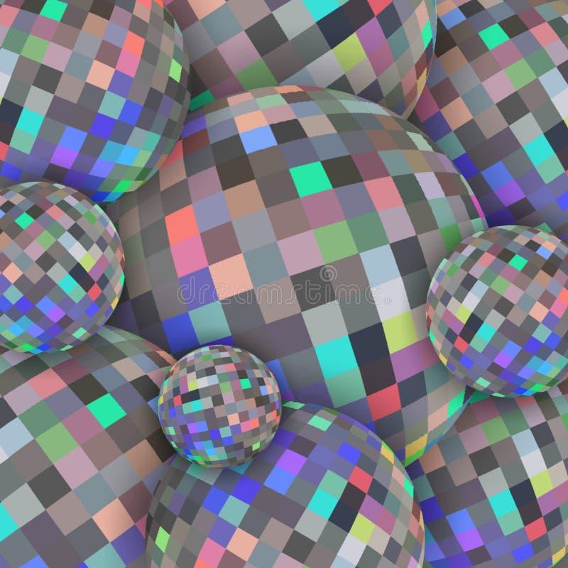 Modèle olographe des sphres 3d de bijoux Modèle abstrait de boules de cristal de miroitement de brillant Texture en verre illustration stock