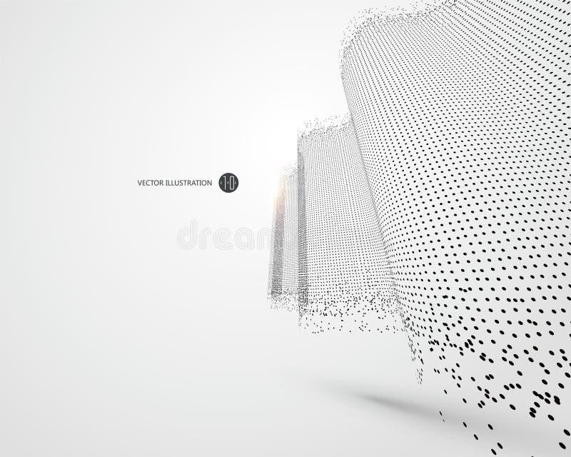 Modèle onduleux composé de particules, illustration de la science et technologie illustration libre de droits