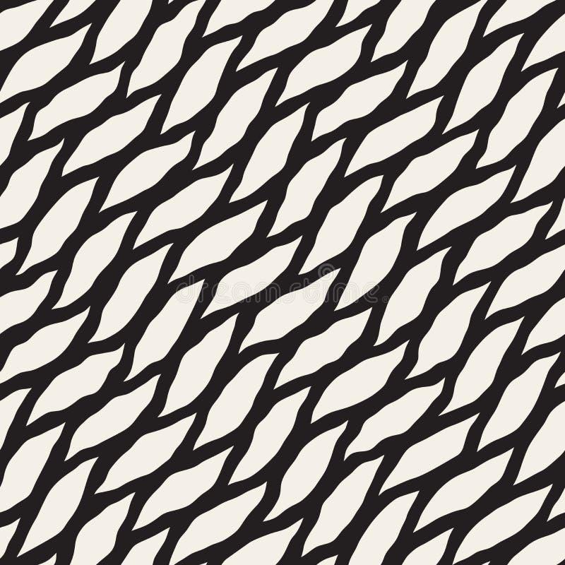 Modèle onduleux diagonal tiré par la main noir et blanc sans couture de formes de vecteur illustration de vecteur